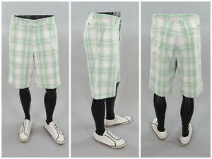 Sligo-Green-amp-White-Plaid-Mens-Golf-Shorts-Knee-Length-Casual-Preppy-Style-36-034