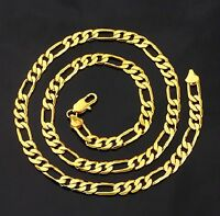 """5mm Figaro """"pvd Bonded"""" 18kt Gold 18, 20"""", 24 & 30"""" Men's & Woman's Necklace"""