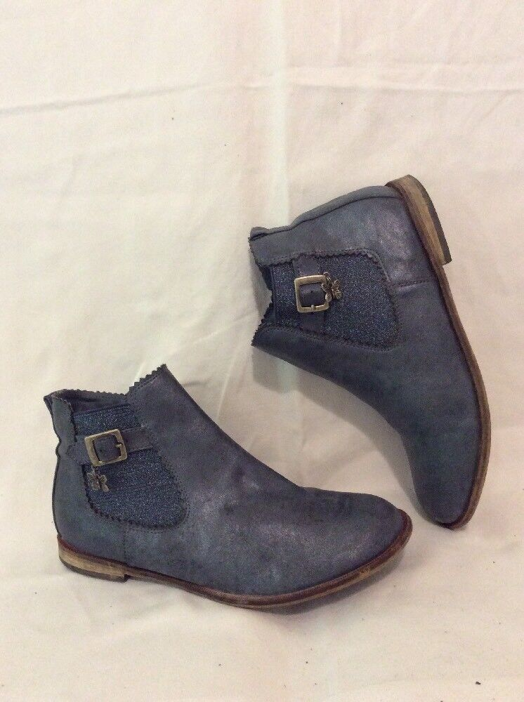 Next Grey Ankle Leather Boots Size 5