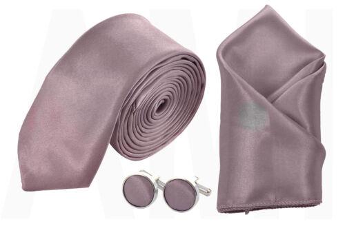Mens Rose Taupe Silky Satin Skinny Tie Or Handkerchief Or Cufflinks Or Full Set