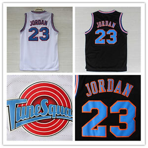 7e02b4092c1d Space Jam Michael Jordan  23 Basketball Jersey Black White S M L XL ...