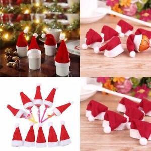 10-Mini-Santa-Claus-Christmas-Hats-Party-Xmas-Holiday-Best-Decor-Lollipop-N9L1