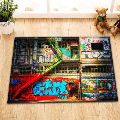 """24x16/"""" Non-Slip de bain Tapis de salle de bain Home Decor Tapis de Hip Hop Graffiti House"""