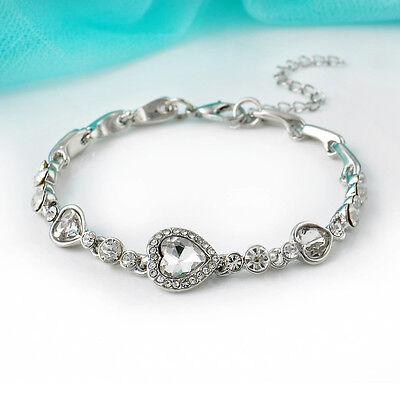 Women Fashion Ocean Blue Crystal Rhinestone Love Heart Bangle Bracelet Jewelry