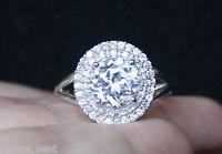 Zales White Sapphire Diamond Halo Anniversary Engagement Ring S7 Silver