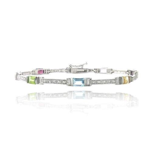 4.4ct Multi Gemstones &  Diamond Accent Emerald-Cut Link Bracelet