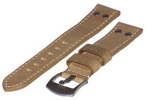 Zubehör Uhrenarmband Vintage-look Antik-leder Fliegerarmband 20 Mm Neu Uhren & Schmuck