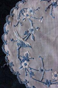 2 Antique 19thC Hand Embroidered Birds & Roses~Indigo Blue Cotton On Fine Linen