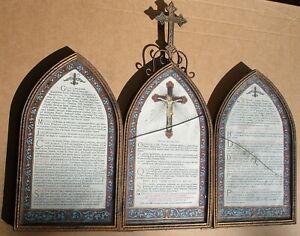 ANCIEN CANON D'AUTEL XIXe TRIPTYQUE RELIGIEUX IMAGES PIEUSES CROIX EN BRONZE
