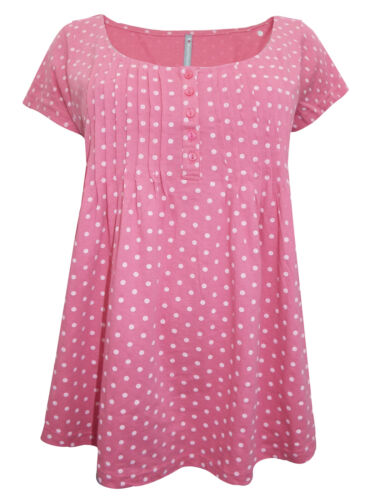 NEW BLANCHEPORTE PINK POLKA DOT PINTUCK TOP T-SHIRT SIZES 6 TO 22 PLUS SIZE