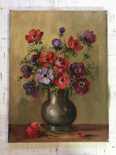 Öl Gemälde alt Blumen Stillleben in Vase unsigniert um 1950