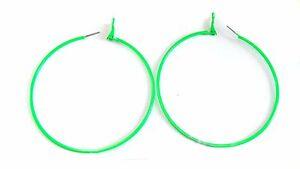 Image Is Loading Large Green Hoop Earrings Neon 3