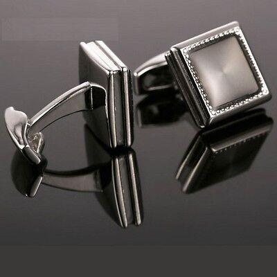 A Pair Men's Luxurious Enamel Cuff Links Cufflinks Stainless Steel Silver RR71