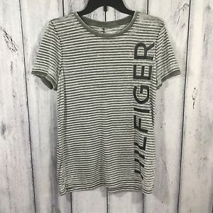 Tommy-Hilfiger-Spell-Out-Medium-Womens-Shirt-Short-Sleeve-Burnout-Gray-White
