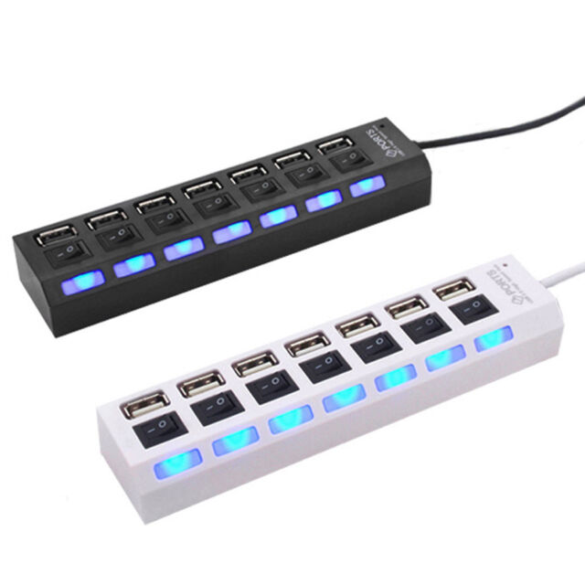 7-Port USB 2.0 Multi Charger Hub +High Speed Adapter ON/OSP Switch Laptop/PC SP