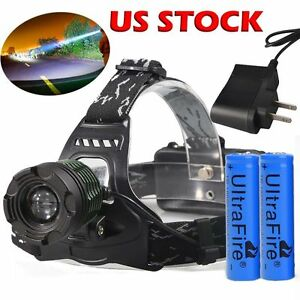 90000LM-UltraFire-Tactical-Headlamp-T6-LED-Head-Light-18650-Battery-Charger-USA