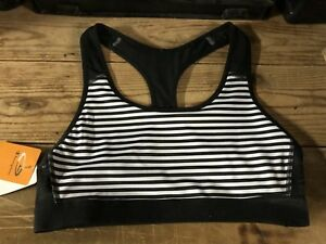 Champion-Power-Core-Support-Compression-Sports-Bra-Large-New-Black-White-Stripes