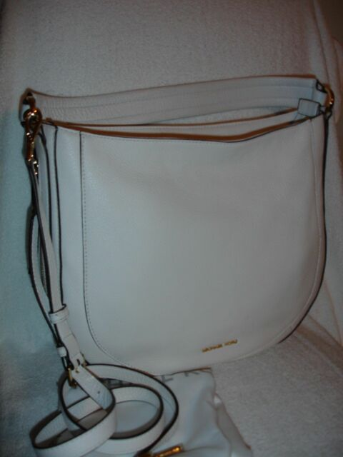 NWT MICHAEL Michael Kors Julia Convertible Optic White Leather Shoulder Bag   368 0e3b9847f8