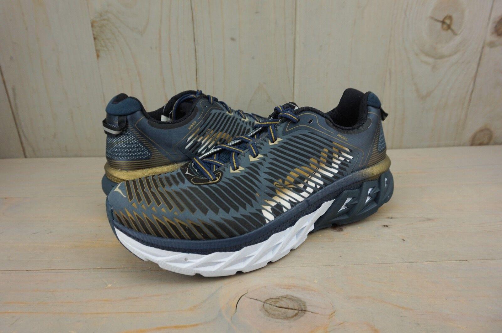 Hoka One One arahi azul marino noche dorado metálico ejecuta Zapatos para Hombre US 9 Nuevo