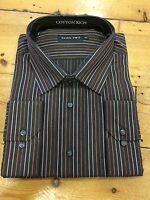 Double Two Cotton Rich Stripe Shirt/chocolate - 15 Full Cut