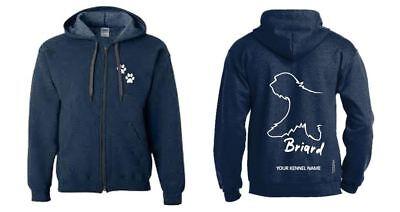 Briard Dog Breed Hoodie Full Zipped  Dogeria Design Women/'s /& Men/'s Sizes