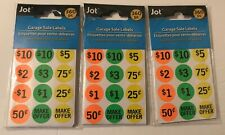 Garage Sale Labels 360 Pc Assorted Neon Colors Self Adhesive Lot Of 3