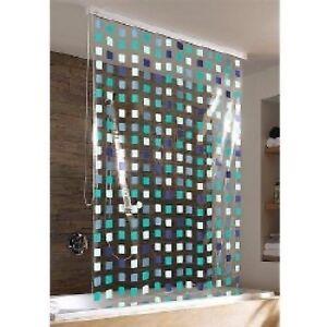 weiß  134//128x240 cm Kleine Wolke Duschrollo Mosaik grau incl.Alu-Kassette