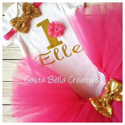 First birthday outfit,Gold One Bodysuit,Hot Pink And Gold Bodysuit,Handmade