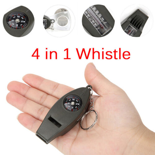 Mini Outdoor 4 In 1 Survival Whistle Compass Magnifying Thermometer Keychain  SJ