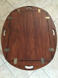 Image Is Loading Vintage Lane Butler 039 S Tray Hinged Wood