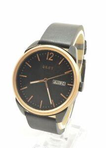 DKNY-NY1605-Gansevoort-Three-Hand-Black-Dial-Leather-Strap-Men-039-s-Watch