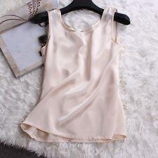 Lady Sexy 100% Pure Silk Tank Sleeveless Top Knit Vest Singlet Blouse Soft Short