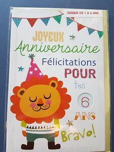 Neuf Carte Anniversaire 1 6 Ans Enveloppe 10 Cartes Achetees Port Gratuit Ebay