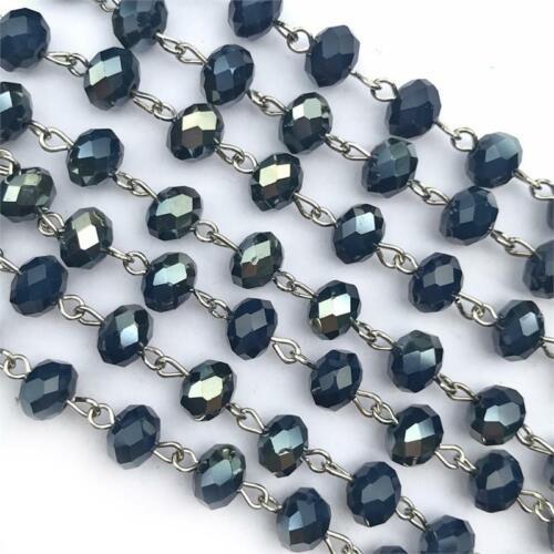 Navy Dark Blue Crystal Rondelle Beaded Rosary Silver Eyepin Chain 8x6mm Q2 Feet
