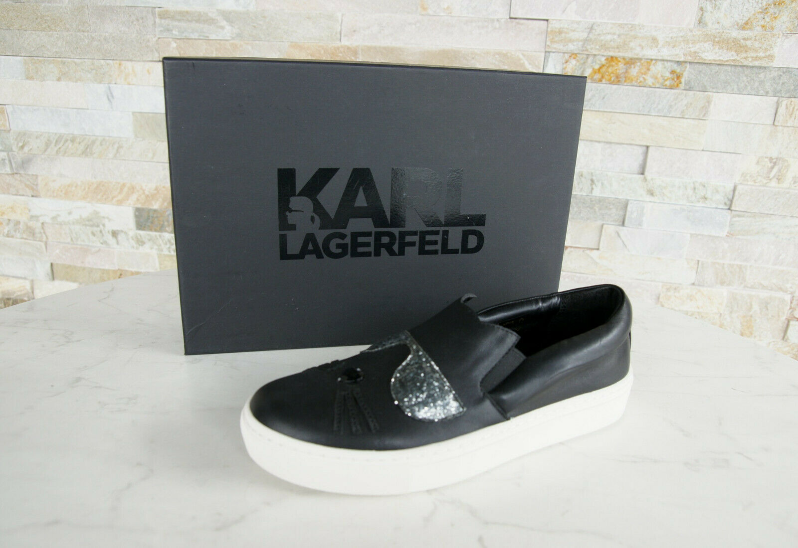 Karl Lagerfeld Eu 37 UK4 Us 6 Slipper shoes shoes Black New Formerly Rrp