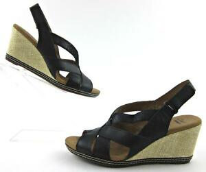 df398bb6e3c Clarks Collection  Helio Coral  Wedge Sandals Black Leather Sz 7.5M ...