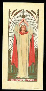 ANTIQUE HOLY CARD SALUTARIS HOSTIA - France - ANTIQUE HOLY CARD SALUTARIS HOSTIA 2.6 X 5.1 INCHES - France