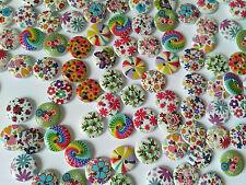 Lot 10 pcs Boutons rond Fleurs coudre Scrapbooking/décoration Bois Multicolore