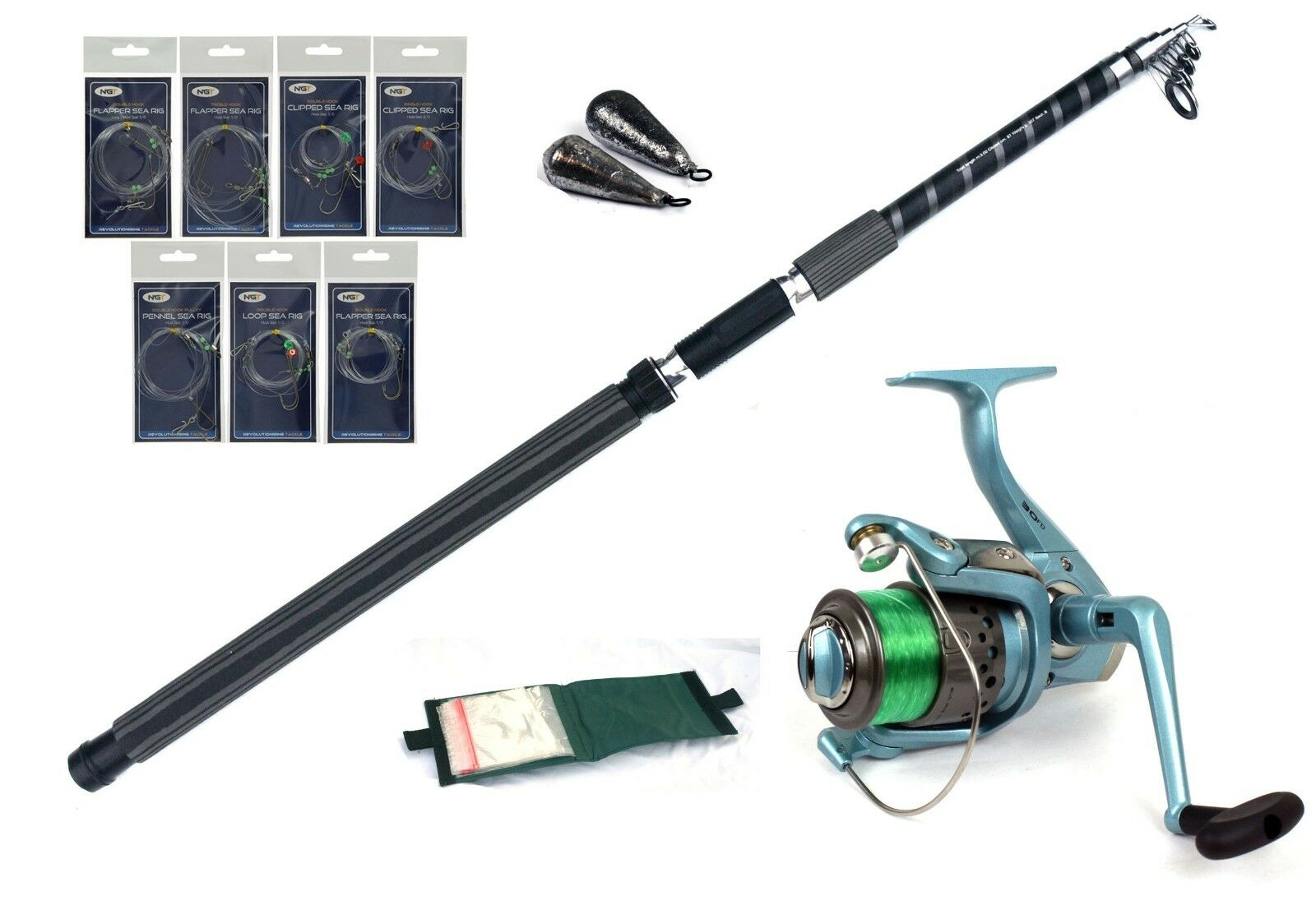 Starter Travel Sea fishing kit rod,reel,ready rigs,leads,line rig wallet