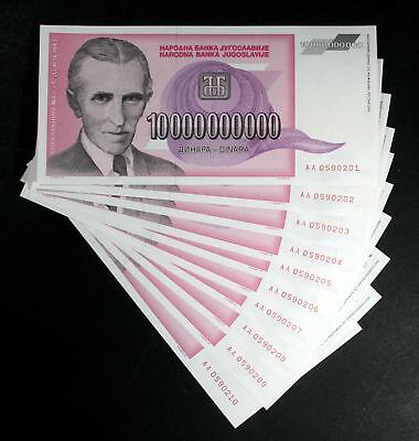 Yugoslavia LOT 10 Notes 10 Billion Dinara 1993 Hyperinflation P127 TESLA UNC