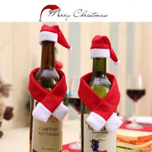 2-10x-Set-Noel-Santa-bouteille-de-vin-sac-de-la-table-de-reception-de-LC