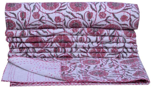 FLORAL INDIAN KANTHA QUILT COTTON BEDSPREAD THROW Blanket Ethnic Vintage Gudari