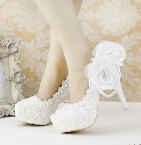 Dentelle blanche LADY/'S Fleur Mariage Chaussures Plateforme Talon Haut Perle Pendentif Femme