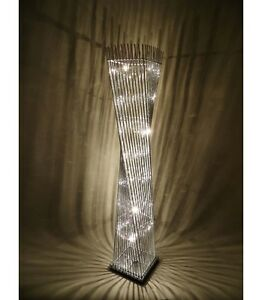 Modern elegant cayan tower wire silver led floor lamp for Modern tower floor lamp