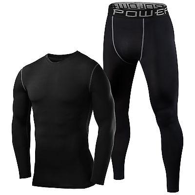 Mens Boys Compression Armour Baselayer Top Thermal Skins Shirt + Leggings Set