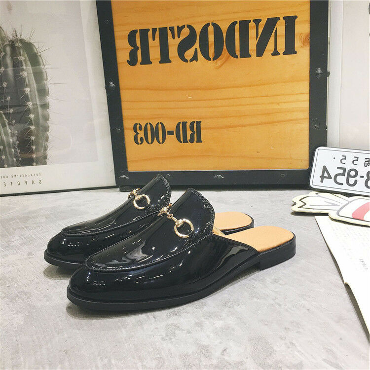 Stylish Mens Patent Leather Backless Mules Slippers Shoes Flats Leisure Flats Shoes Loafers 548c82