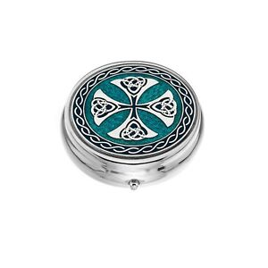 Large-Pill-Box-Silver-Plated-Celtic-Cross-Blue-Brand-New-amp-Boxed