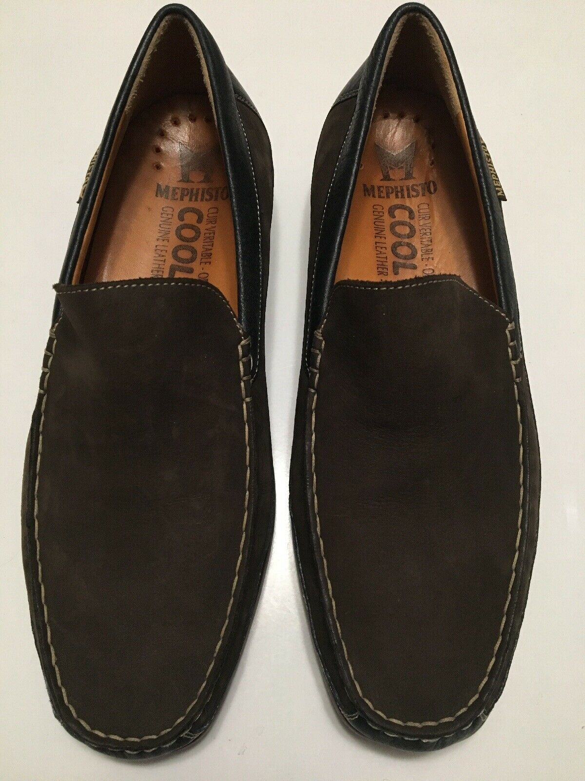 300 Mephisto Baduard Brown Black Leather Cool Air Loafers Men's Size 9 MINT