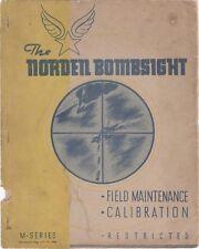 1943 NORDEN M SERIES BOMBSIGHT FIELD MAINT/CALIBRATION FLIGHT MANUAL HANDBOOK-CD
