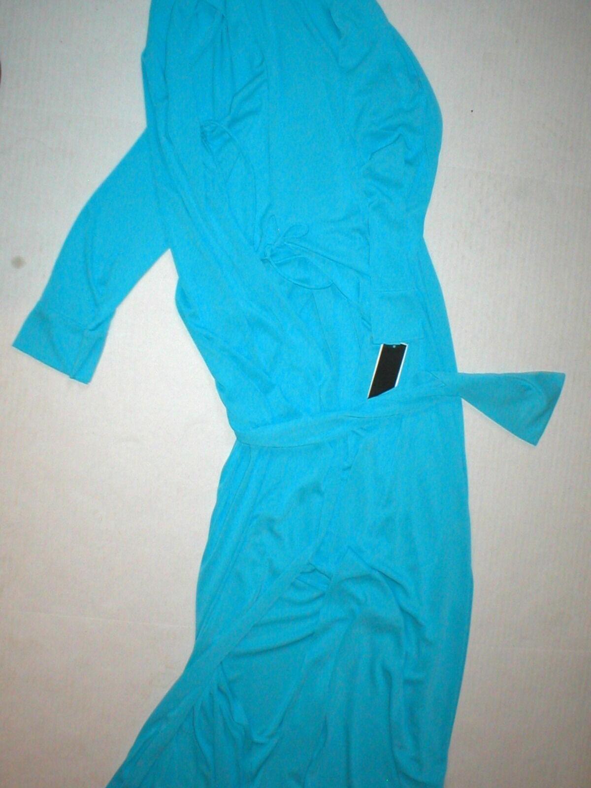 Neuf avec étiquettes NEW Natori Blau Clair Robe Femme XS Long Très Doux Solide soyeux Poche Satin